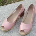 Genuine leather big woman shoes US size 9 designer vintage High heels peep toe handmade black pink beige blue pumps 2017 sping