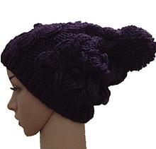 Осень зима фиолетовый цветок шапочка hat мода ручной вязки шапки женщины теплой шерсти мода шапочки шапки