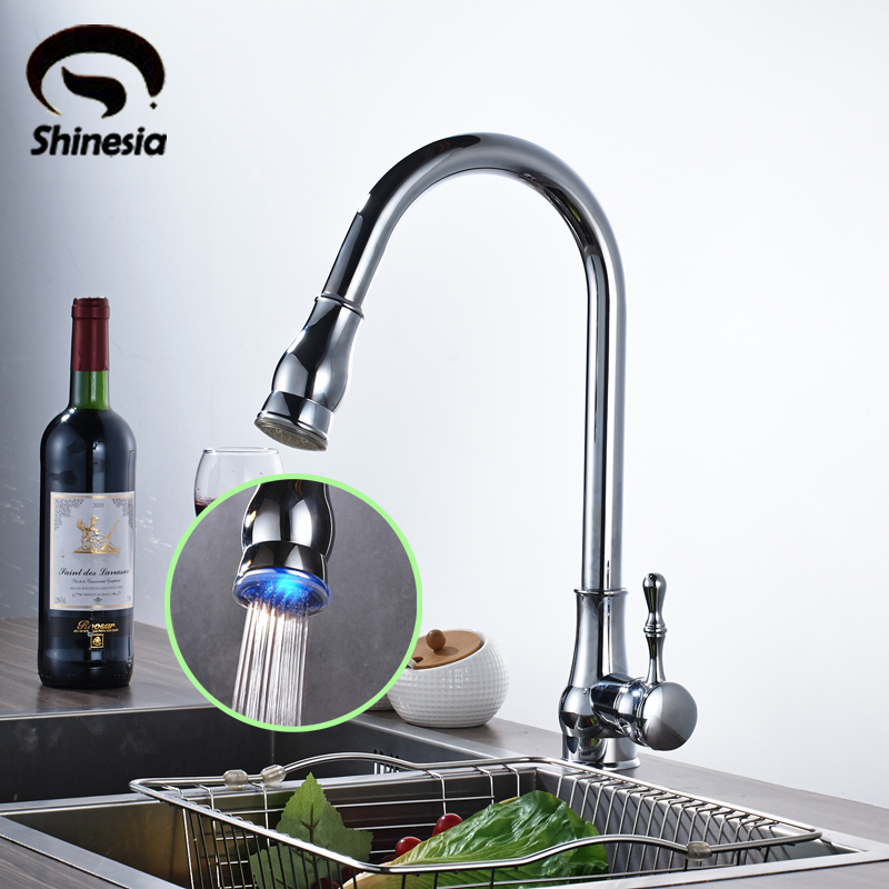 Solid Brass LED Swivel Spout Kitchen Sink Faucet Pull Out Mixer Tap Chrome Polished free shiping chrome brass pull out sprayer brass kitchen sink faucet swivel spout mixer tap kf880 c