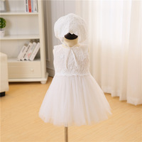 2017 New Tulle Baby Girls Wedding Kids Dress Party Sleeveless Princess Birthday Lace Tulle Flowers Baby
