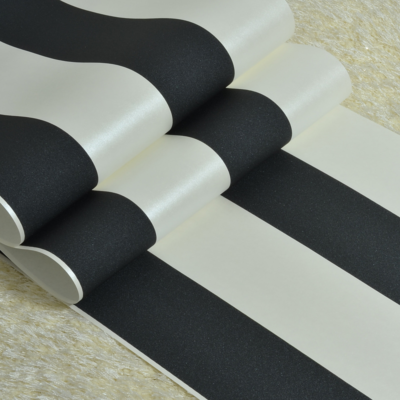 Купить с кэшбэком PAYSOTA 10M Roll black and white wide stripe wallpaper simple Cross vertical striped wall paper decor for living room background
