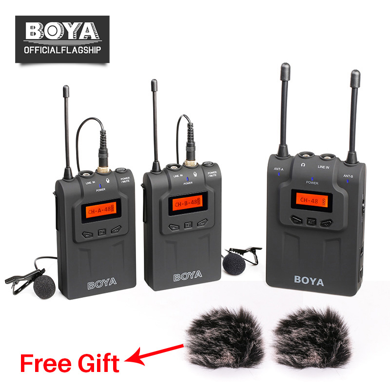 все цены на BOYA BY-WM8 Dual Channel UHF Wireless Microphone System Lavalier Mic 2 Transmitters 1 Receiver for Canon Nikon Camera Interview онлайн