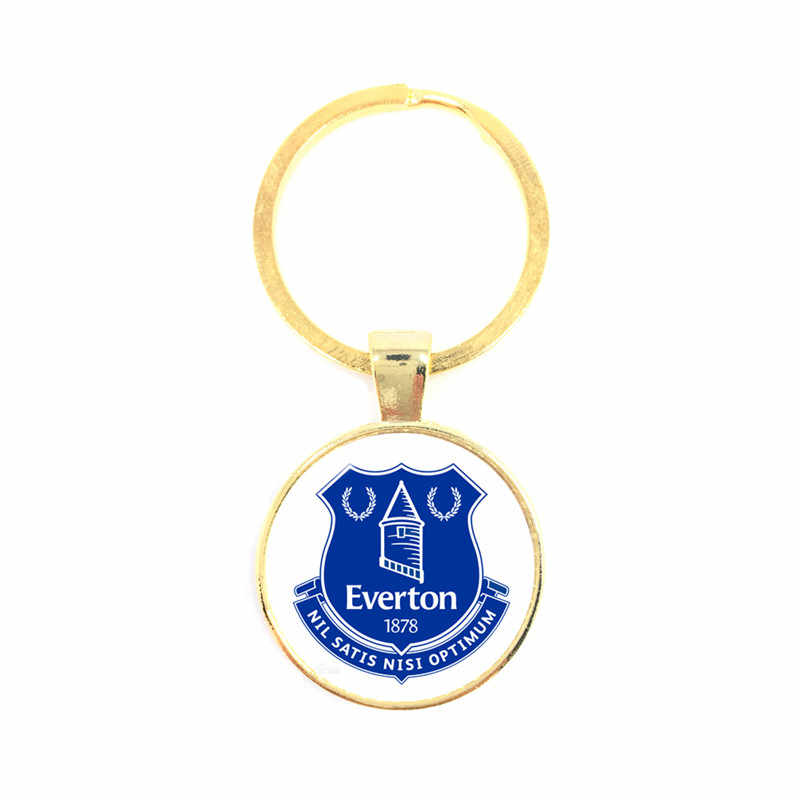 Football Team Club 25mm Glass Dome Cabochon KeyChain Chelsea Football Club Leagues Logo Soccer Club Keyring For Fans Gift