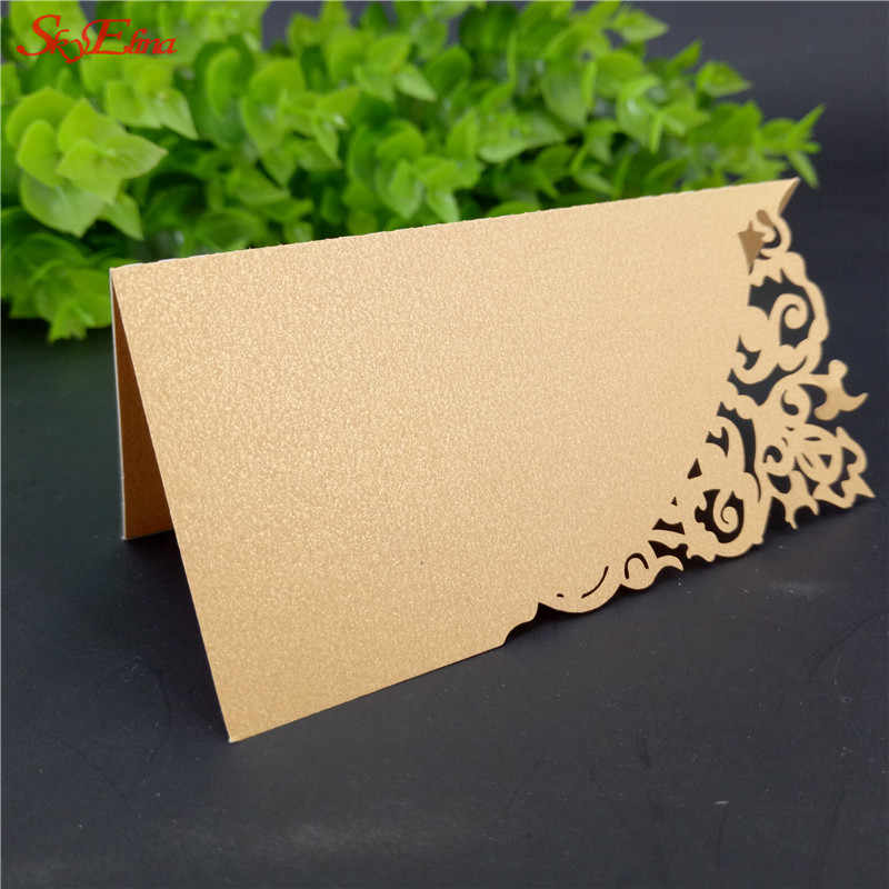 50PCS Vintage Wedding Invitation Card Table Card Seat Escort Card Cut Lace Paper Craft Birthday Party Favors Name Cards 6zsh870