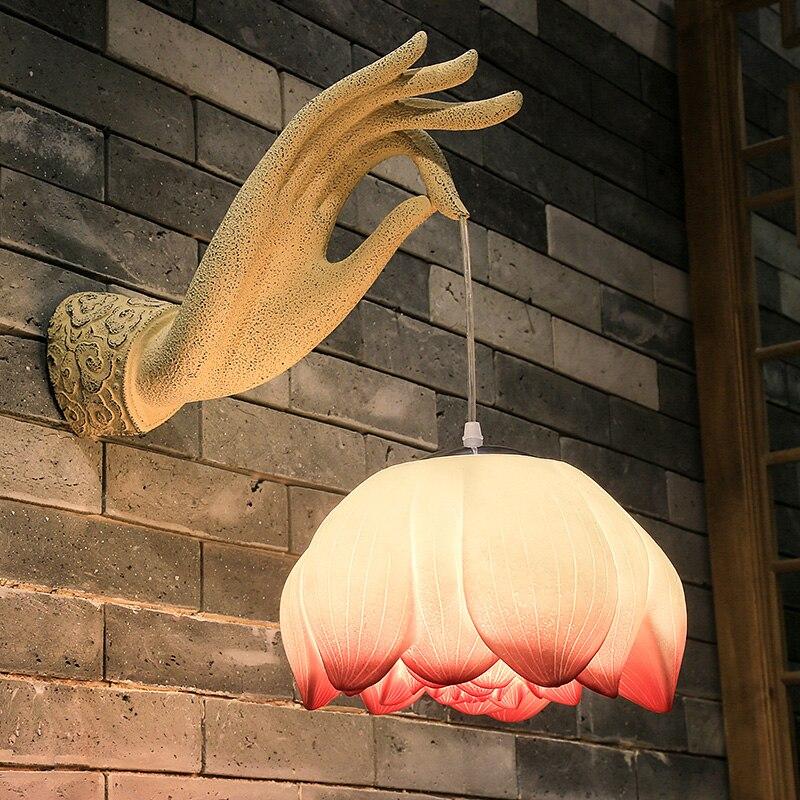 Новый китайский стиль столовая спальня прикроватная лампа настенная лампа Настенный светильник украшение художественный зал отель - 2