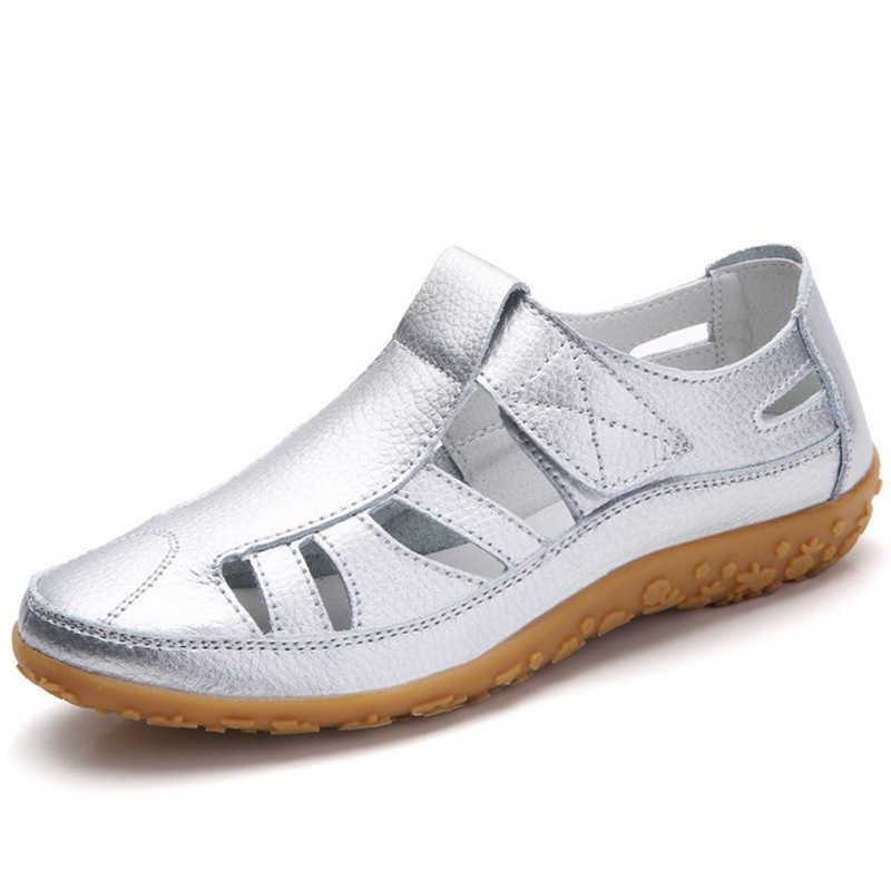 2020 kadın gladyatör sandalet ayakkabı hakiki deri içi boş düz sandalet bayanlar rahat yumuşak alt yaz ayakkabı kadın plaj sandalet