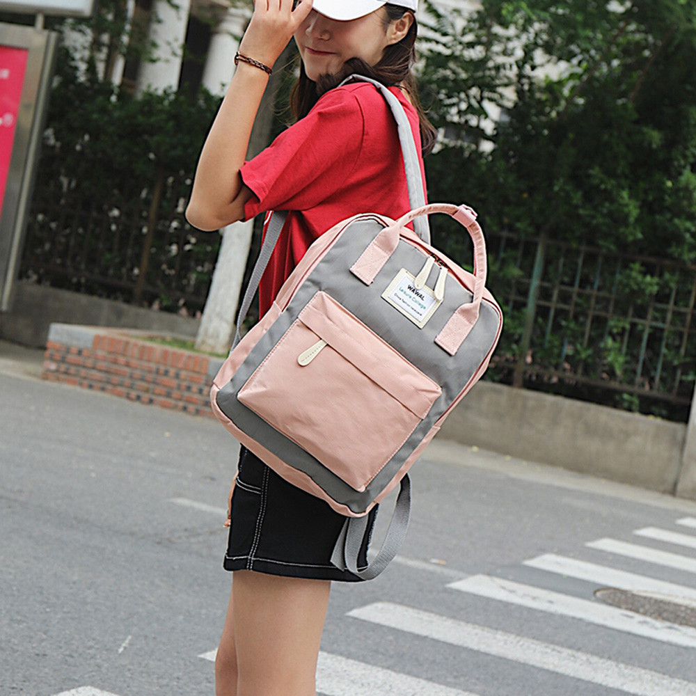 Korean Style Canvas Backpack For Women Simple Fashion Youth Travel Backpack Leisure School Bag Tote For Teen Girl Shoulder Bag