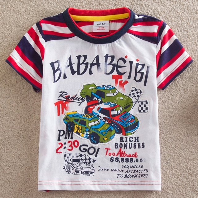 PURO bebê menino roupa Nova 2016 frete grátis T camisa menino 100% algodão T-shirt de luxo pista de corrida roupas crianças S8118 #