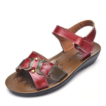 Leather Sandals Women Wedge Platform Summer Shoes Ladies Sandalias Beach Chaussures Femme Size 4