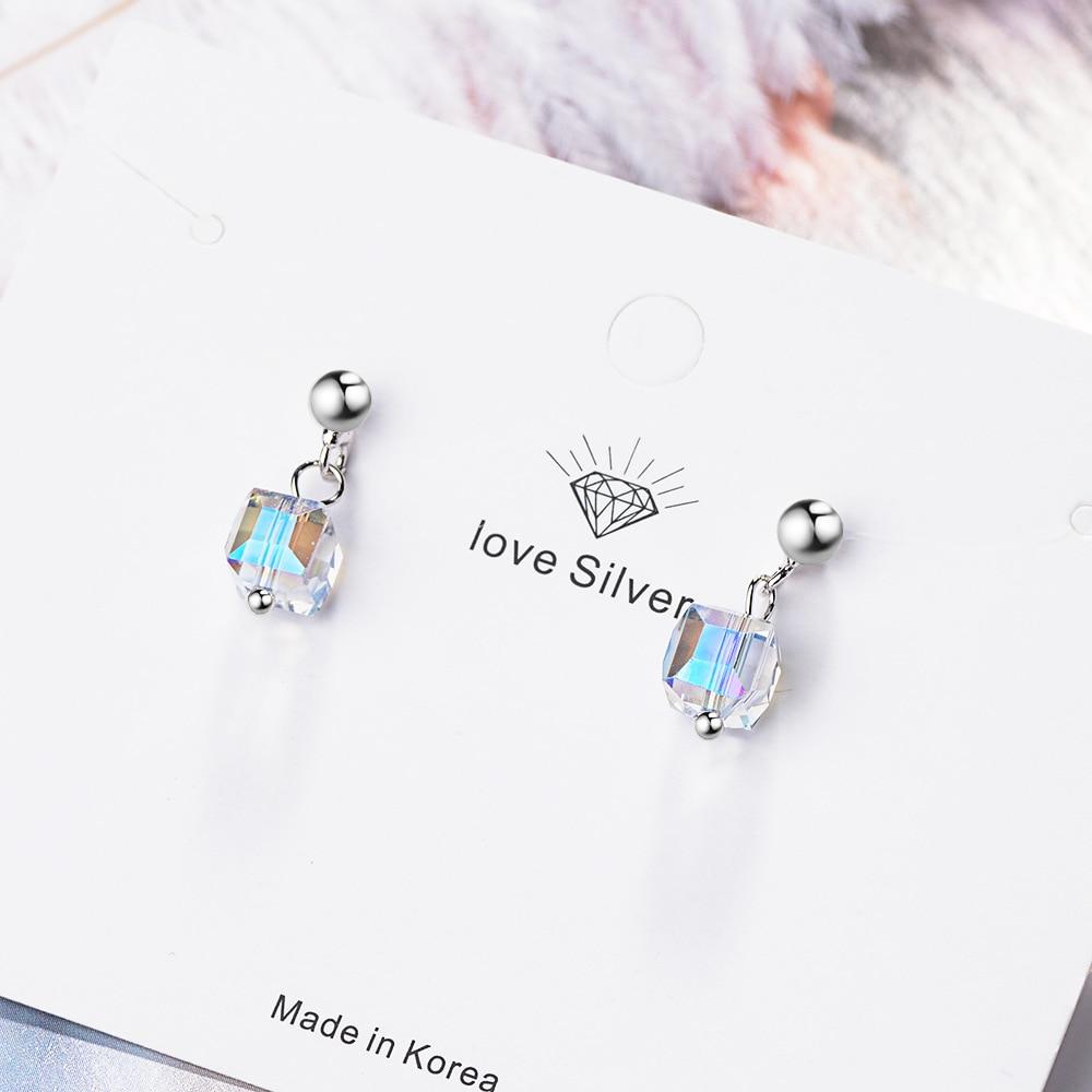 100 925 Sterling Silver Elegant Cube Sugar Crystal Ladies Tassel Stud Earrings Original Jewelry For Women 2019 New No Fade in Stud Earrings from Jewelry Accessories