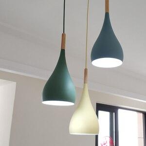Image 5 - Luces colgantes de Lustre multicolor iluminación colgante de madera para restaurante, accesorios de iluminación de cocina, lámpara LED moderna para Loft E27