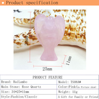 Hailambo Beautiful Roses Quartz Bead Standing Angel Statue Carved Angel Wing Figurine Pendant Classic Best Jewelry Fashion TS08A