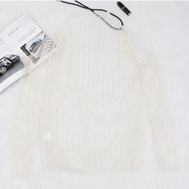 JSMY Sexy Openwork Mesh Perspective Gauze Shirt Top Long sleeved Transparent Lace Gold Line Bottoming Shirt Women in T Shirts from Women 39 s Clothing