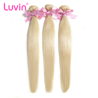 Luvin Brazilian Remy Straight Hair 1PC 613 Blonde Hair Bundles 100 Human Hair Weave Bundles Free