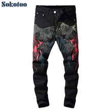 Special price! Mens colored pattern 3D printed back jeans Fashion eagle painted slim fit straight pants