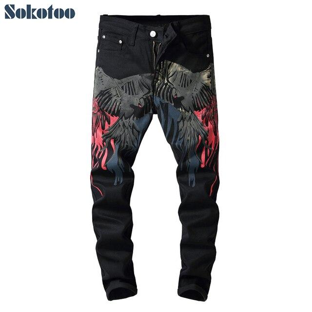Özel fiyat! Erkek renkli desen 3D baskılı geri kot moda kartal boyalı slim fit düz pantolon