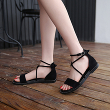 New Fashion Women Gladiator Sandals Buckle Strap Flat Black Spring/Summer Female Shoes Casual Lady Woman Footwear