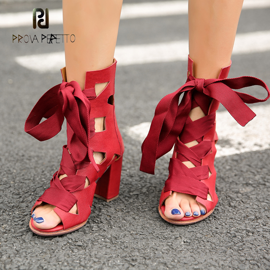 Prova Perfetto sexy front cross tied hollow gladiator sandal boots red open toe square high heel back zippers summer boots women prova perfetto hot sale real leather round toe women ankle boots front cross tied back zipper high heel dress autumn winter boot