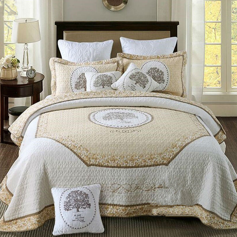 100 cotton bedspread embroidery quilt white bed cover set super soft bedspreads king size. Black Bedroom Furniture Sets. Home Design Ideas