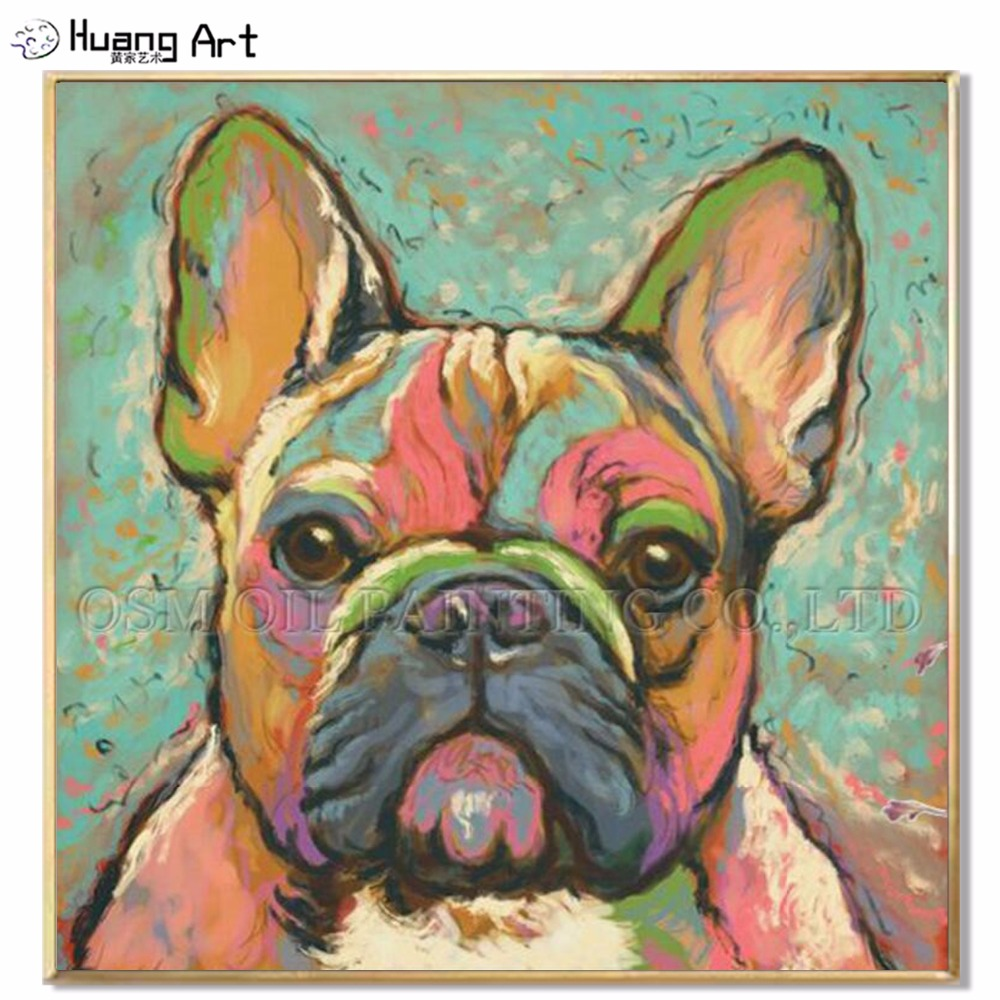 Top Artist Hand-painted High Quality Kinds of Animal Oil Painting on Canvas French Bulldog Oil Painting Picture for Wall Artwork
