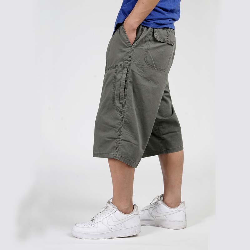 Summer Hip Hop Harem Mens Cargo Shorts Water-washed Cotton Wide Leg Loose Baggy Boardshorts Casual Beach Shorts Plus Size 6XL