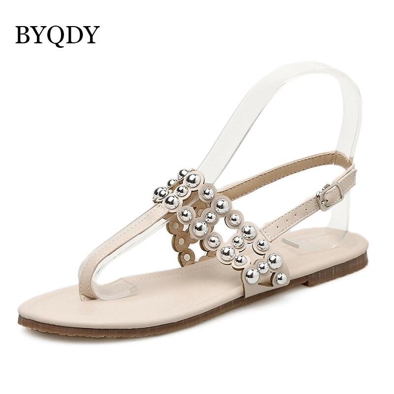 Planas Zapatos Byqdy Mujeres Cristal Sexy Remache Promoción Moda Verano Sandalias EID9HW2