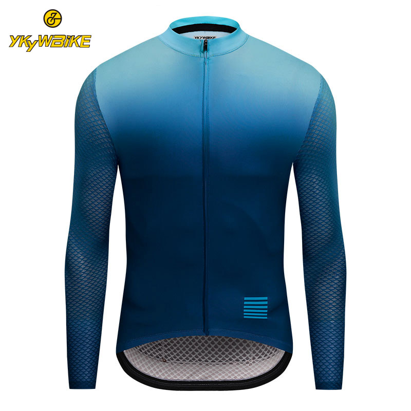 YKYWBIKE Men Cycling Jersey MTB Long Sleeve Bike Shirt High Quality Gradient Color Jersey 2019 Bicycle Clothing Mallot Ciclismo