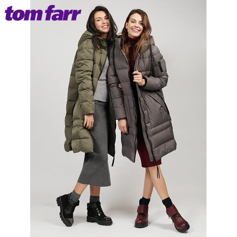 tom farr down jacket woman hooded 2018 winter female clothes coats T4F-W3601_55 christmas long hooded jacket girl 90