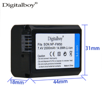 High Capacity 2PC 2000mAh NP FW50 NP FW50 NPFW50 Battery Charger For Sony Alpha NEX 7
