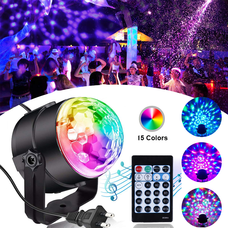 15 Colors Disco Ball Light Sound Activated Stage Strobe Party And Dance Lights Car Dj Light Show For Birthday Holiday Decoration