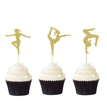 12pcs Gymnast Cupcake Toppers Gold Glitter Gymnastics Girl Picks Baby Shower Birthday Party Cake Decors