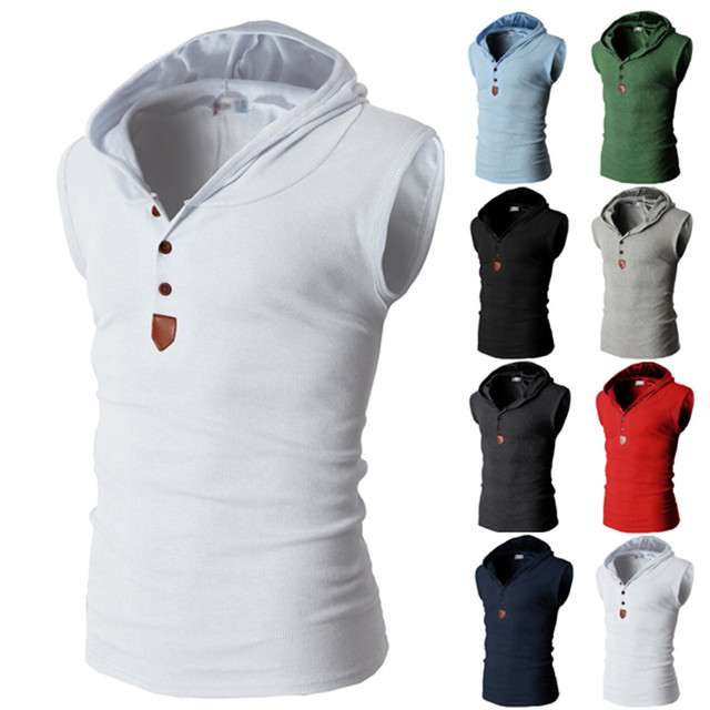 Fashion Solid Hoodied Tops Fashion Sleeveless Hoody Tops Tee Casual T Shirt Men Slim Fitness College Male T-shirts Multi Colors 1