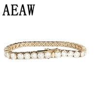 Мода Стиль Solid 14 К 585 Желтое золото 6ctw-18ctw карат ct мм DF Цвет Муассанит бриллиантовый браслет для Для женщин Тесты положительный