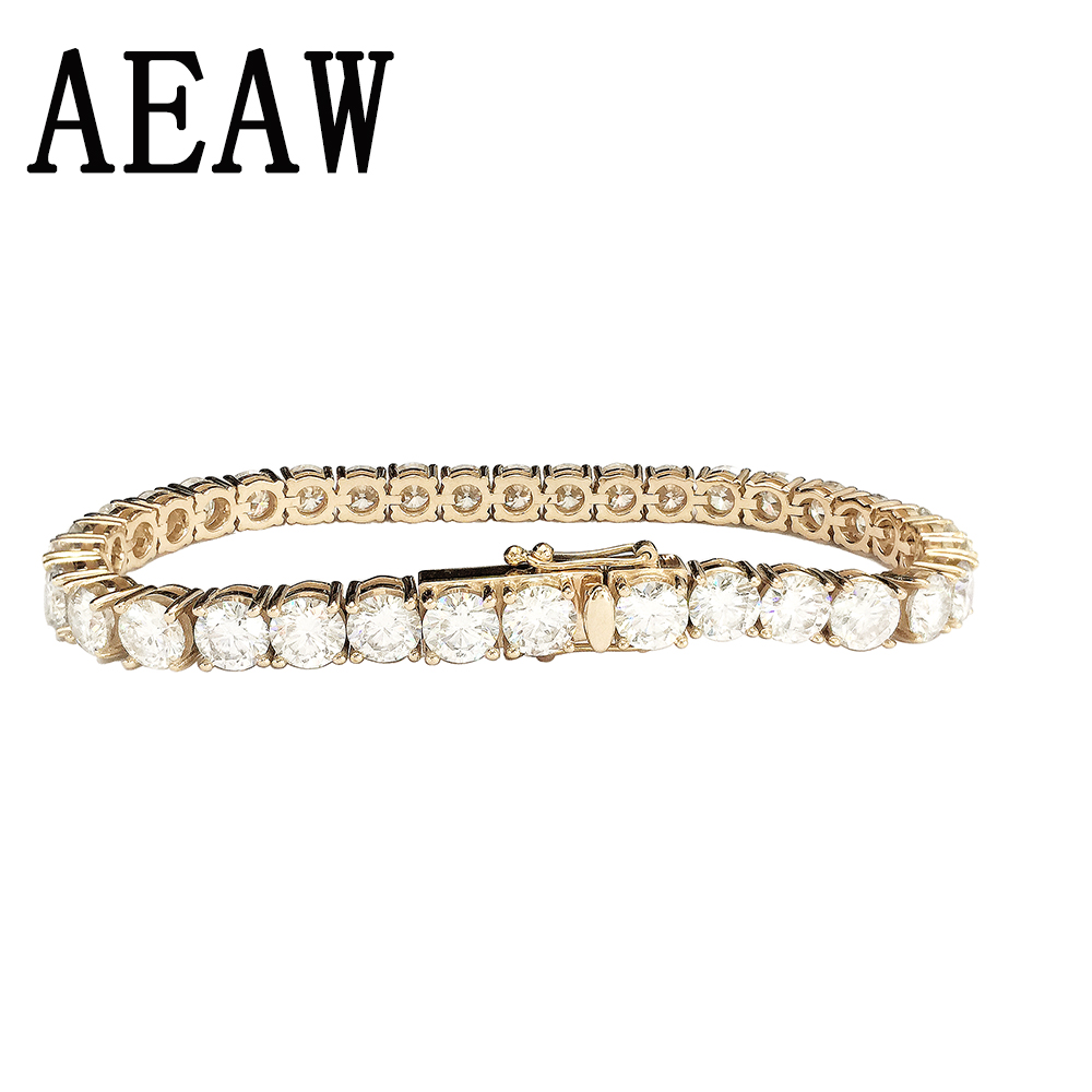Trendy Style Solid 14K 585 Yellow Gold 6ctw-18ctw Carats ct mm DF Color Moissanite Diamond Bracelet For Women Test Positive trendy style solid 14k yellow gold df color moissanite lab grown diamond bracelet charm for women