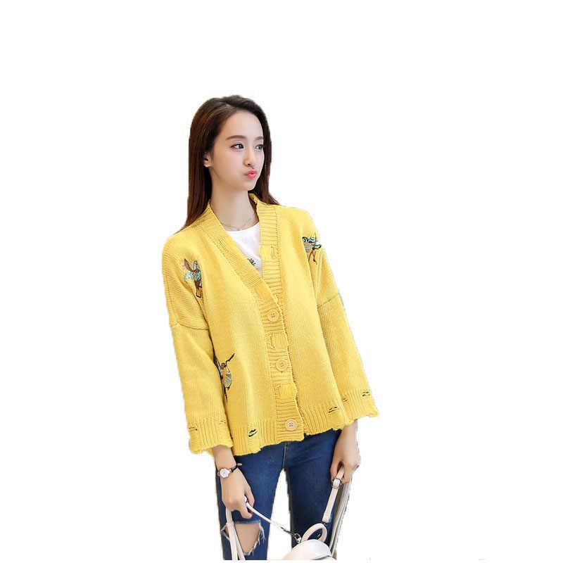 Olgitum Мода 2019 осенний свитер женский полосатый каждодневный свободный жакет с дырками Лонгслив под змеиную кожу вязаный свитер SW506