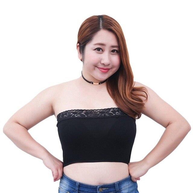 4a0dbf02de1 Plus Size L-3XL Sexy Tube Top Black White Lace bustier Underwear bandeau  Strapless Crop Tops Women Fat lingerie corset underbust
