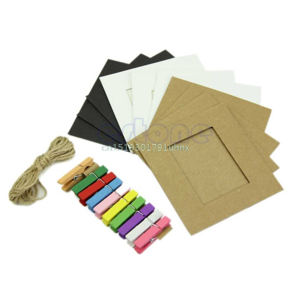 10Pcs 3Inch Paper Photo DIY Flim Hanging Album Wall Frame Rope Wood Clips Gift #1