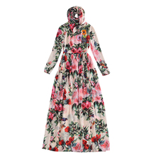 High Quality European and American 2016 Autumn New Stylish Women Dress Printing Sequins Beaded Long Dress With Scarf