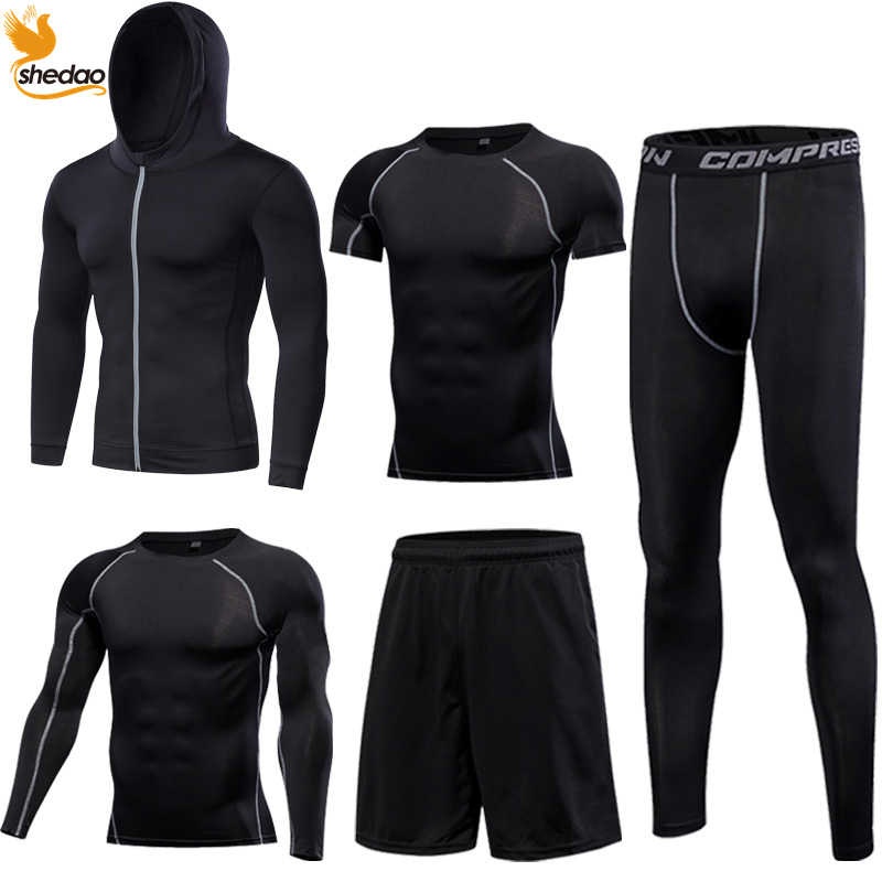 38a797f1e49 Men's Gym training fitness sportswear tights slim clothes running workout  tracksuit suits quick drying fit high elastic clothing