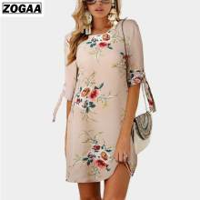 ZOGAA Plus Size 2019 Women Dresses Boho Style Floral Print Chiffon Beach Dress Tunic Sundress Loose Party Vestido