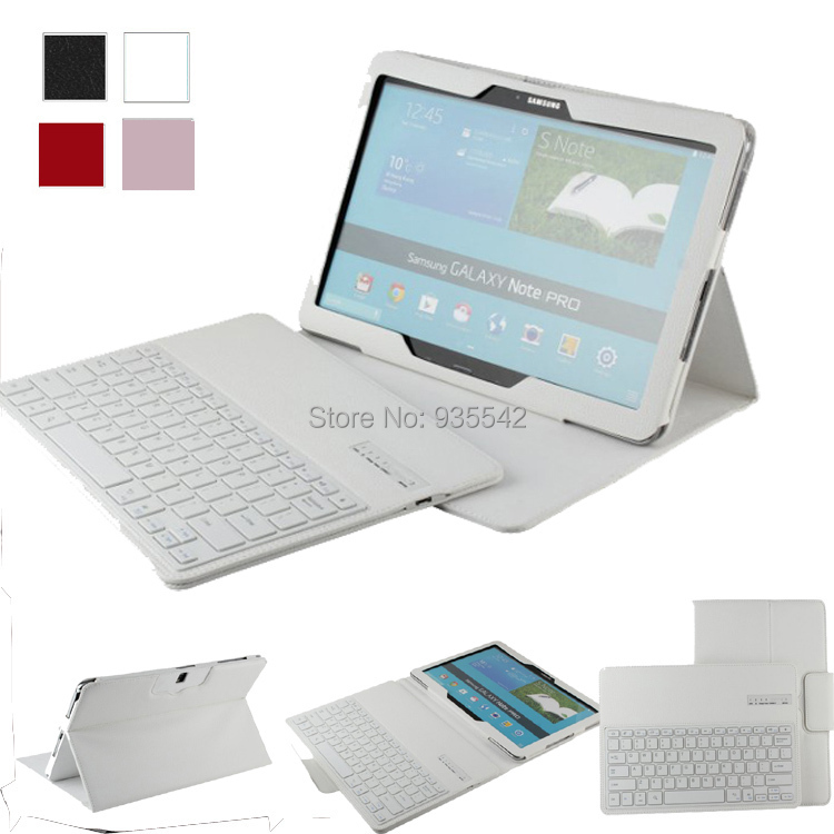 ФОТО For Samsung Galaxy Tab / Note Pro 12.2 inch Detachable Bluetooth Keyboard Portfolio Leather Ultra Slim Stand Case Cover, White