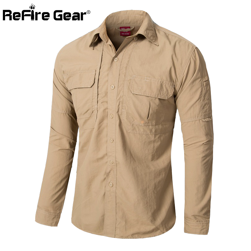 Men lightweight urban tactical shirt quick dry army cargo for Lightweight breathable long sleeve shirts
