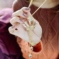 Nova Moda Mulheres Liga de Longo Colar de Pingente de Coroa Incrustada de Cristais de Strass decoração Do Partido Colar de jóias