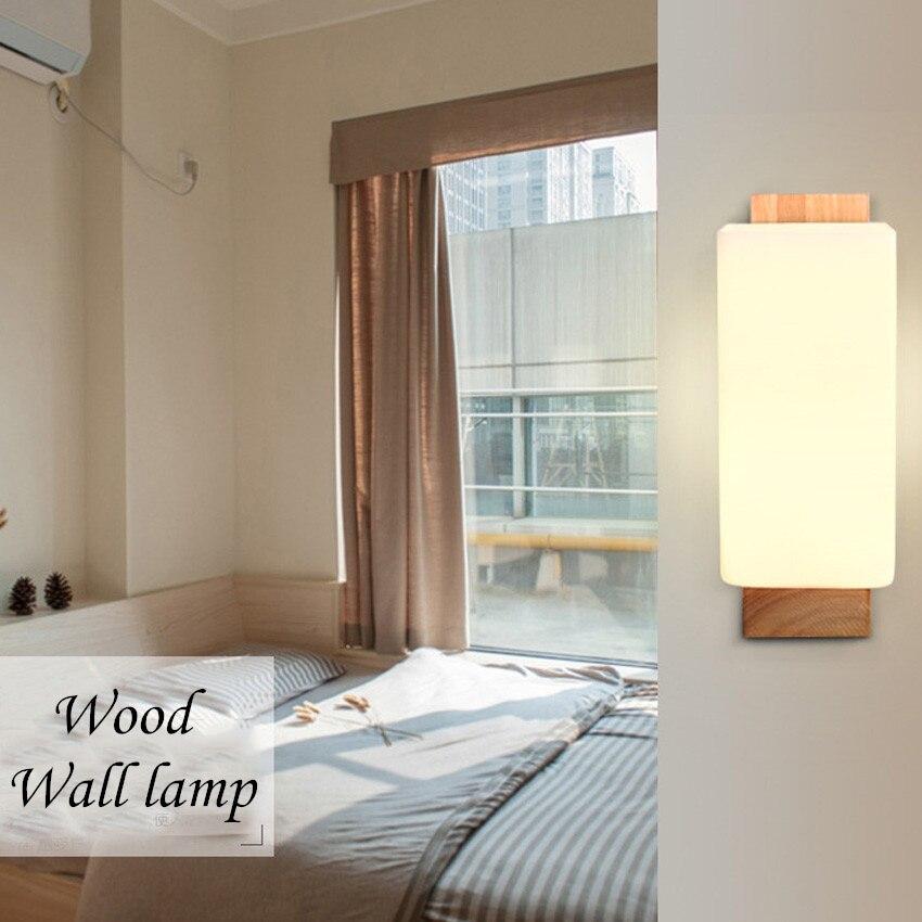 €35.49 13% de réduction|Lampes murales en bois modernes de chambre à  coucher d\'hôtel, luminaires muraux nordiques en bois de chêne-in Mur Lampes  from ...