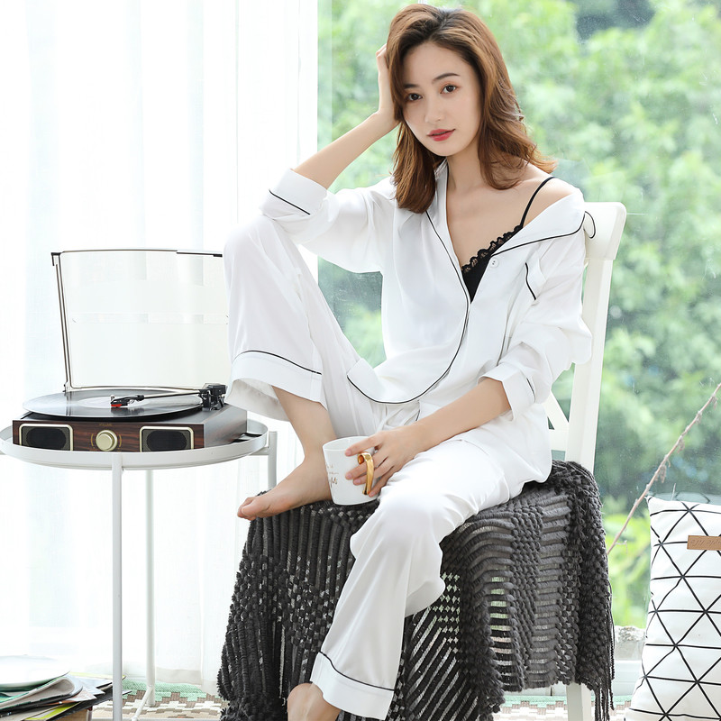 Spring Summer Womens High-quality Silk Pajamas Set Thin Pajama Pyjamas Set Sleepwear Loungewear XS S M L 6 Color