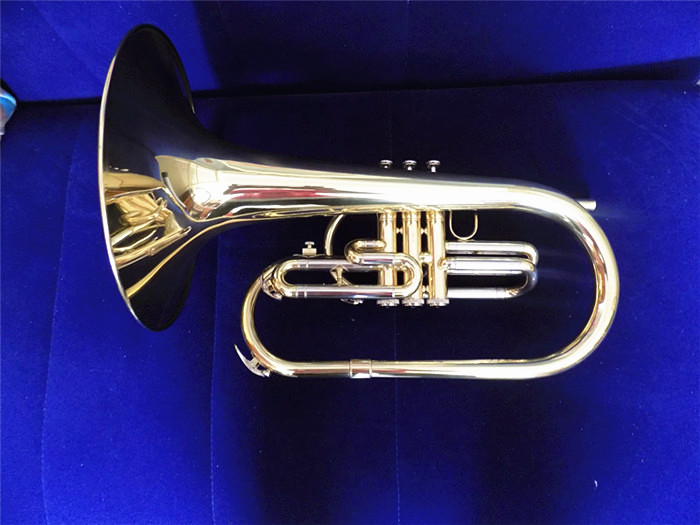 F Key Marching Mellophone Brass Body Lacquer finish with case and mouthpiece Musical instruments