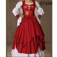 Free shipping red princess costume elagant inflation dress costume ,exotic Medieval Petticoat halloween costumes for women