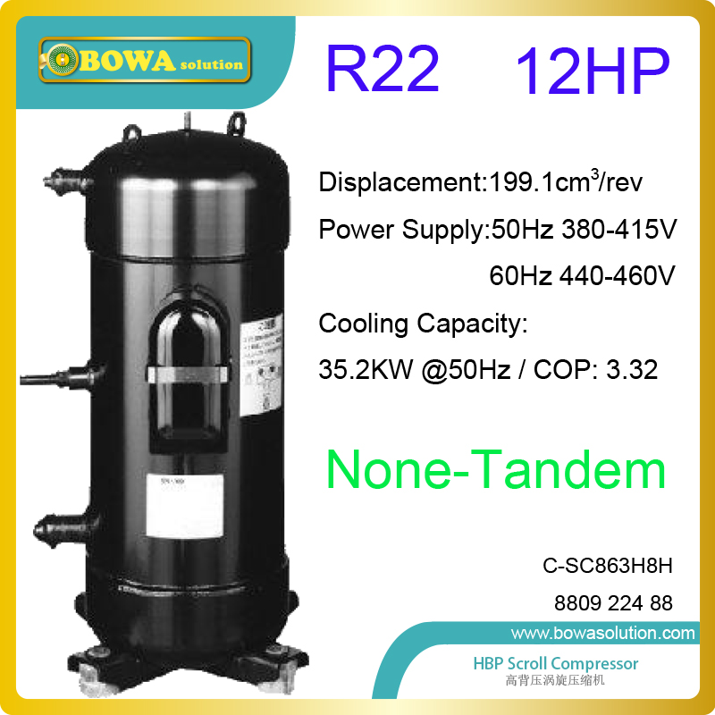 12HP R22 scroll compressor is high coefficient and runs quiet for refrigeration equipments and air conditioning products 6pcs one carton automotive air conditioning compressor refrigeration oil pokka brand 4l compressor refrigeration oil