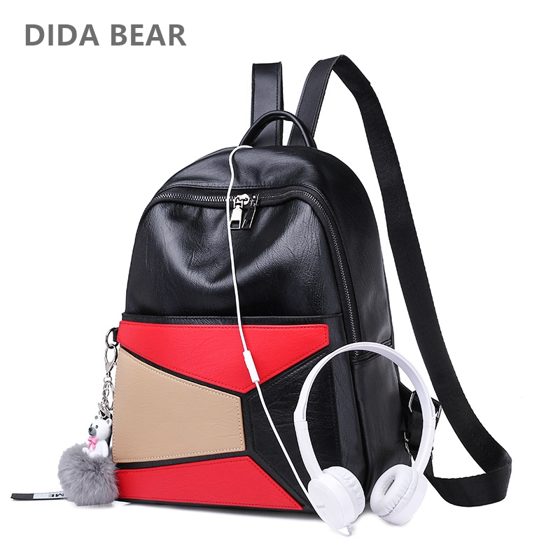 DIDA BEAR 2018 Women Leather Backpacks Female School Bag For Teenagers Girls Large Travel Shoulder Bags Cute Patchwork Rucksack dida bear fashion canvas backpacks large school bags for girls boys teenagers laptop bags travel rucksack mochila gray women men