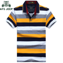 2a58d2b3 Afs Jeep Striped Polo Shirt Men 2018 Summer Cotton Turn-down collar  Breathable